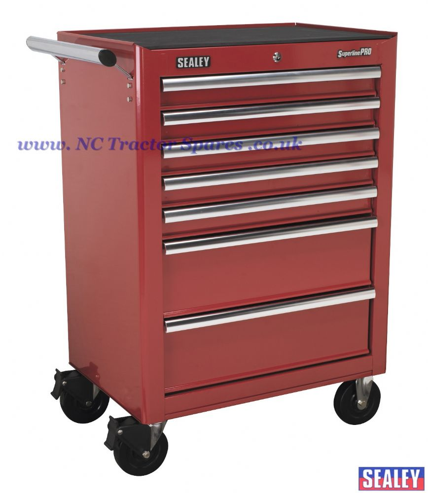 Rollcab 7 Drawer with Ball Bearing Runners - Red.